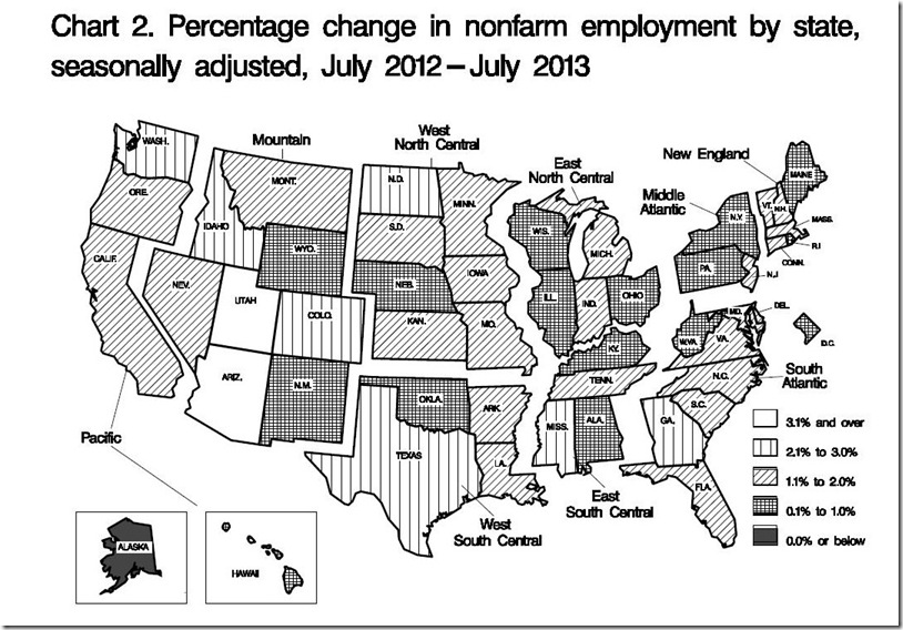 July map YoY nonfarm payroll change by state