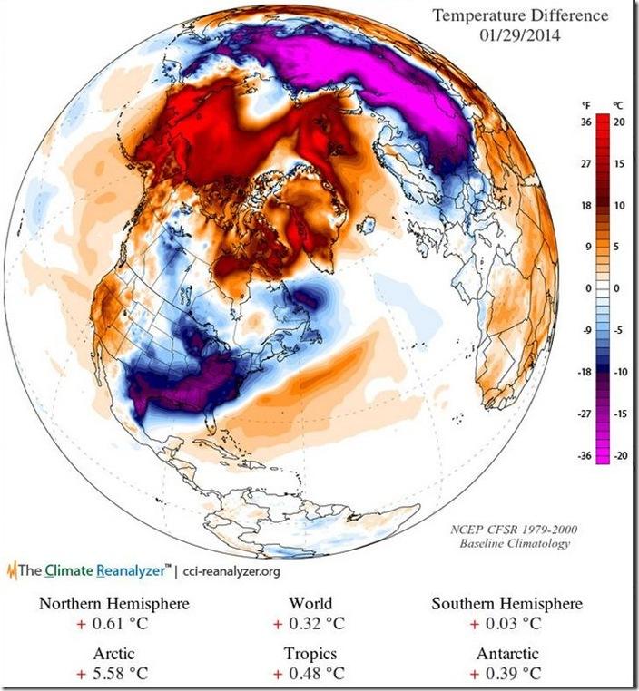 January 29th temp anomolies