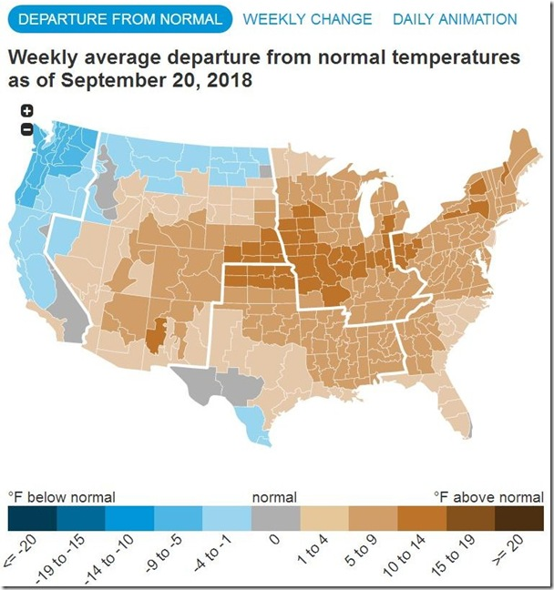 September 29 2018 temperature variance for week ending Sept 20