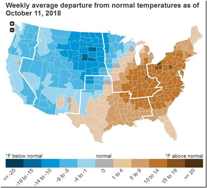 October 19 2018 temperature departure from normal week ending Oct 11