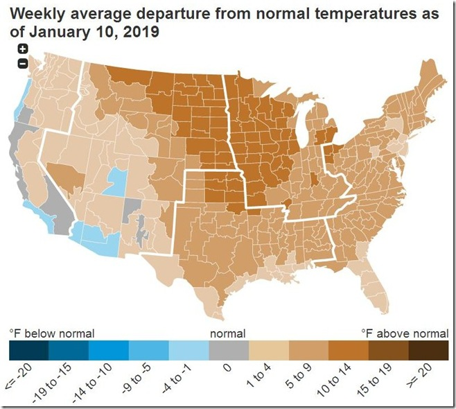 January 19 2019 temperature deviation for week ending January 10th