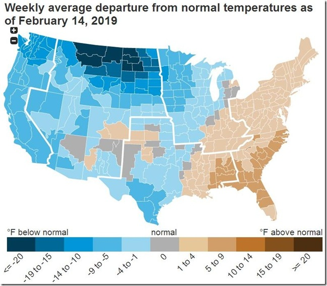 February 23 2019 temperature departure from normal for week ending February 14