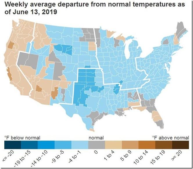 June 21 2019 temperature anomalies week ending June 13